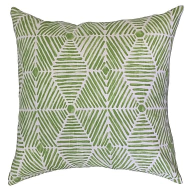 Bloomsbury Market Downen Geometric Floor Pillow Black; Kiwi