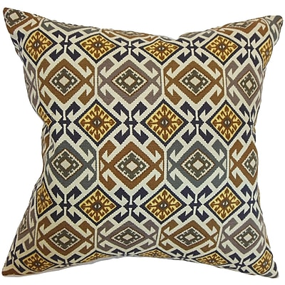 Bloomsbury Market Durand Geometric Cotton Blend Floor Pillow; Black/Brown