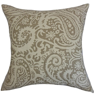 Darby Home Co Fairdale Paisley Cotton Blend Floor Pillow; Stone
