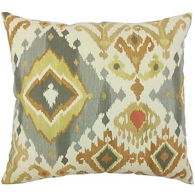 Darby Home Co Fairfax Ikat Cotton Blend Floor Pillow; Amber