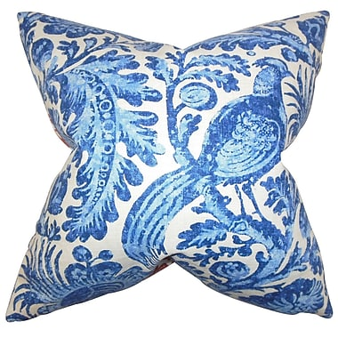 Darby Home Co Cleveland Floral Cotton Blend Floor Pillow; Blue
