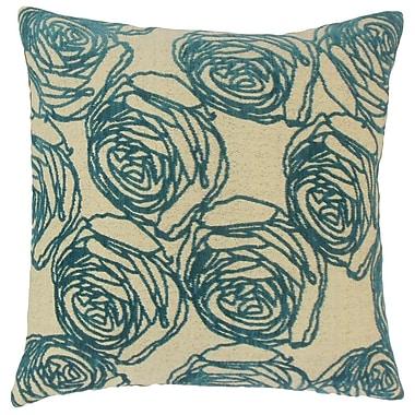 Darby Home Co Faulkner Floral Cotton Blend Floor Pillow; Teal