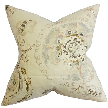 Darby Home Co Haydenville Floral Cotton Blend Floor Pillow; Brown