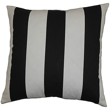 Brayden Studio Tyrique Stripes Cotton Blend Floor Pillow; Black/White