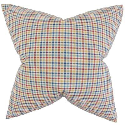 Brayden Studio Colt Plaid Cotton Blend Floor Pillow; Blue/Red
