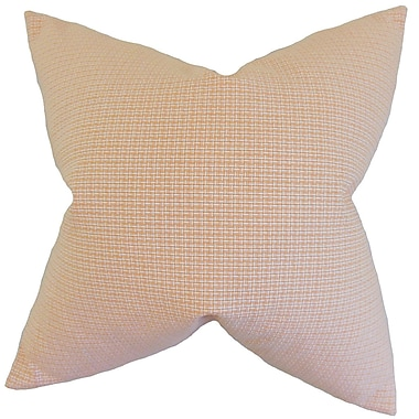Brayden Studio Colt Plaid Cotton Blend Floor Pillow; Orange