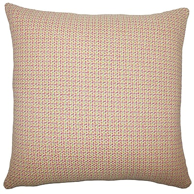 Brayden Studio Gaughan Plaid Floor Pillow Apricot; Peach/Green