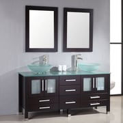 Brayden Studio Meserve Solid Wood and Frosted Glass Vessel 71'' Double Bathroom Vanity Set w/ Mirror