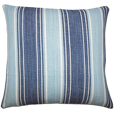 Charlton Home Lazzaro Striped Cotton Blend Floor Pillow; Chambray
