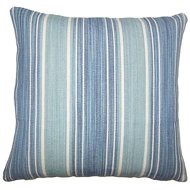 Charlton Home Lazzaro Striped Cotton Blend Floor Pillow; Turquoise