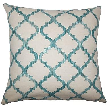 Charlton Home Leachman Geometric Cotton Blend Floor Pillow; Teal