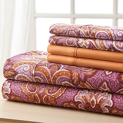 Charlton Home Weyerbacher Orange Medallion Sheet Set; Full