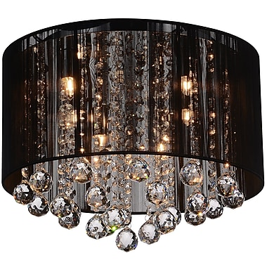 CrystalWorld 4-Light Flush Mount; Black