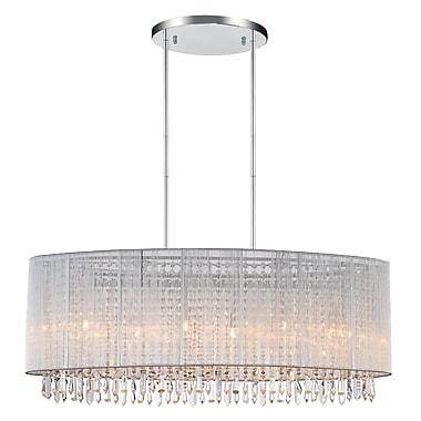 CrystalWorld 6-Light LED Drum Chandelier; Silver