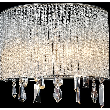 CrystalWorld 2-Light LED Wall Sconce; 8'' H x 12'' W x 6'' D