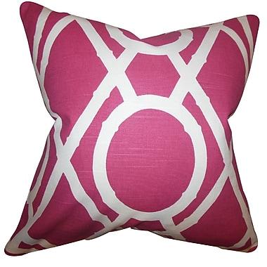 Corrigan Studio Damian Geometric Cotton Blend Floor Pillow; Raspberry