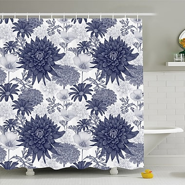 East Urban Home Digital Paint of Dahlias Botanical Curved Rolled Wild Ray Blunts Shower Curtain Set