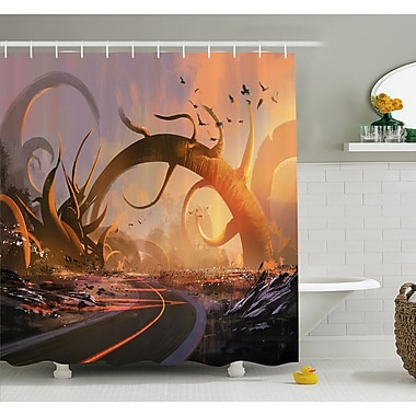 East Urban Home Fairy Fiction Design w/ Mystic Twisted Branches on Highway Sunset Shower Curtain Set