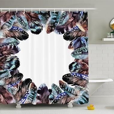 Boho Circle Round Frame w/ Shabby Ornate Feathers Retro Gypsy Art Decor Shower Curtain Set