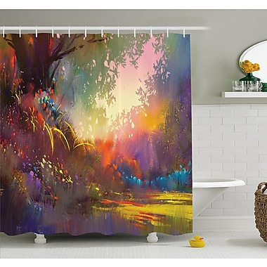 Magical Lake w/ Brush Effects Surreal Nature Elf Tranquil Art Print Shower Curtain Set