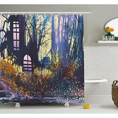 Mystical House A in Tree Trunk w/ Windows Lost City Animation Print Shower Curtain Set
