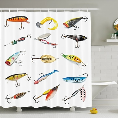 Several Fish Hook Equipment Objects Trolling Angling Netting Gathering Activity Shower Curtain Set