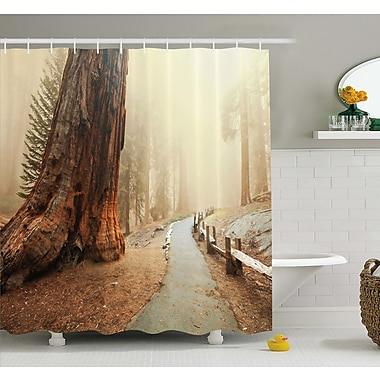 Forest w/ Giant Tree Body in the Foggy Forest Yosemite Mist Woodland Shower Curtain Set