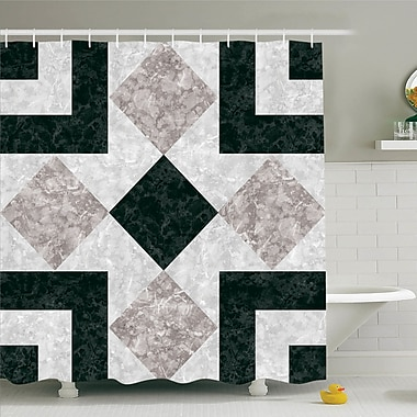 East Urban Home Nostalgic Marble Stone Mosaic Design w/ Alluring Elements Image Shower Curtain Set