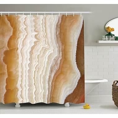 Odd Wavy Marble Pattern w/ New Lines and Shapes Digital Nature Computer Art Shower Curtain Set