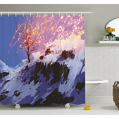 East Urban Home Magical Landscape w/ Showing Bare Tree in Winter Valley w/ Snow Shower Curtain Set