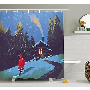 Christmas Santa Claus Walking to the Mountain House Surrounded by Pines Shower Curtain Set