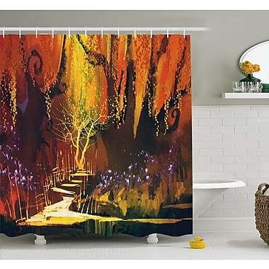 East Urban Home Enchanted World Imaginary Forest w/ Lights Image Scenery Print Shower Curtain Set