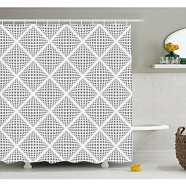East Urban Home Volumetric Diamond Form w/ Dynamic Dashed Effects Web Lines Image Shower Curtain Set