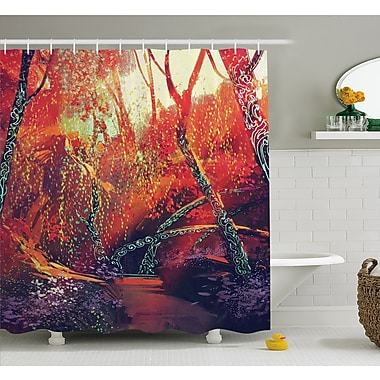 East Urban Home Fall Autumn Scenery in Habitat Fairy Tale Woodland Fiction View Shower Curtain Set
