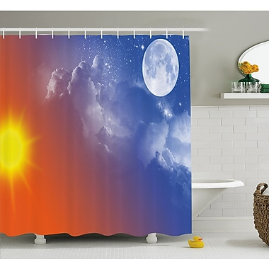 Full Moon Sun Clouds Cycle of the Galaxy Sacred Movement Macrocosm Print Shower Curtain Set