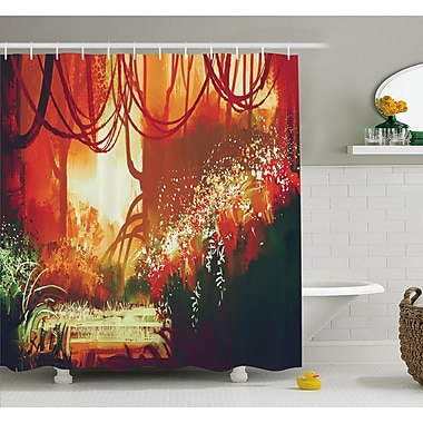 East Urban Home Modern Autumn Forest w/ Blur Special Effects in Vivid Tones Shower Curtain Set