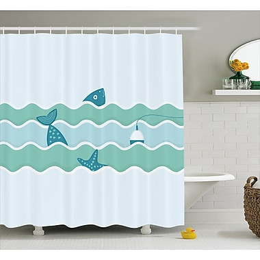 Fish Tail and Starfish Swimming in Flat Waves Submarine Comic Illustration Shower Curtain Set