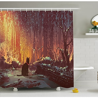 Surreal Lost Black Cat Deep Dark in Forest w/ Mystic Lights Picture Shower Curtain Set
