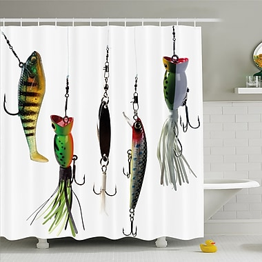 Various Type of Baits Hobby Leisure Sports Hooks Catch Elements Image Shower Curtain Set