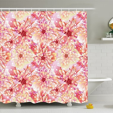East Urban Home Bloom w/ Overlap Axis and Twist Bluntly Circle Pompons Shower Curtain Set