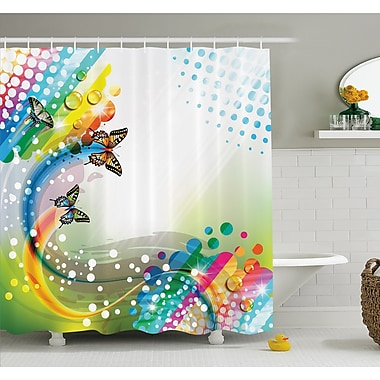 East Urban Home Flying Butterflies w/ Color Comet Bubbles Creative Fantasy Design Shower Curtain Set