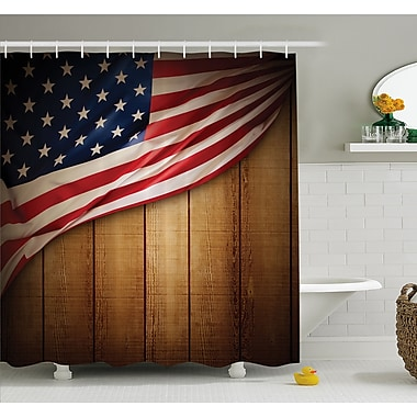 USA Design on Vertical Lined Retro Wooden Rustic Back Glory Country Image Shower Curtain Set