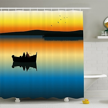 Buddies on Tranquil Still Lake at Epic Sunset Fish Male Friends Home Decor Shower Curtain Set