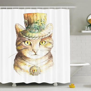 East Urban Home Cat Spiritual w/ Hat and Occult Eye Collar Grunge Celtic Trick Shower Curtain Set