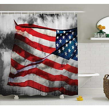 Banner in the Sky on Cloudy Mist Display National Symbol Proud of Heritage Shower Curtain Set