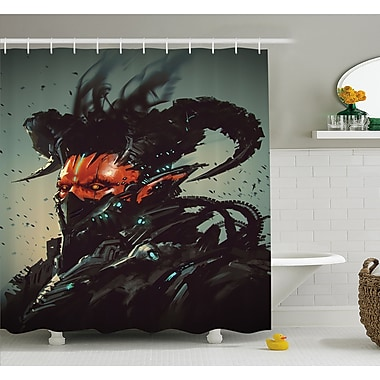 Unusual Robotic Demon Character Futuristic Computer Generated Cyber Shower Curtain Set