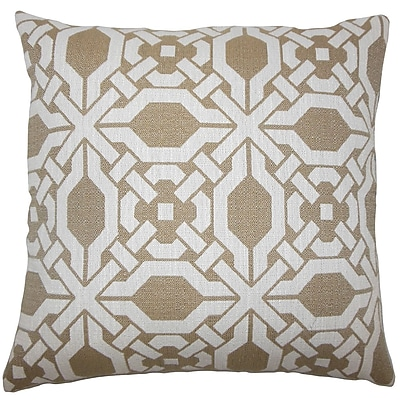Darby Home Co Ferrante Geometric Cotton Blend Floor Pillow; Wicker