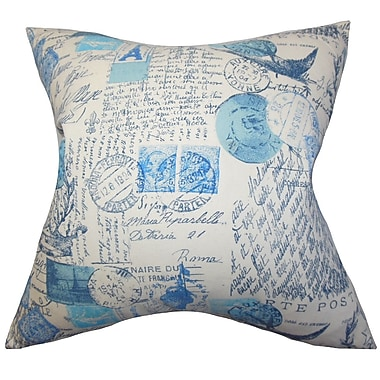 Darby Home Co Ginsberg Typography Cotton Blend Floor Pillow; Blue