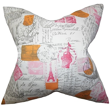 Darby Home Co Ginsberg Typography Cotton Blend Floor Pillow; Pink