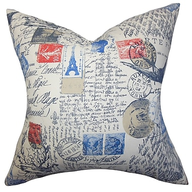 Darby Home Co Ginsberg Typography Cotton Blend Floor Pillow; Red
